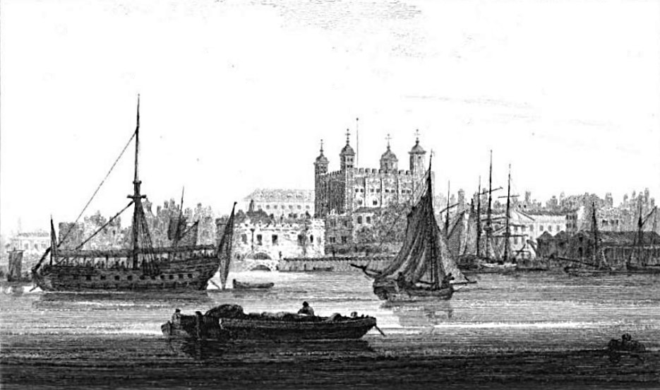 Tower of London in Thames, Cooke & Owen 1811