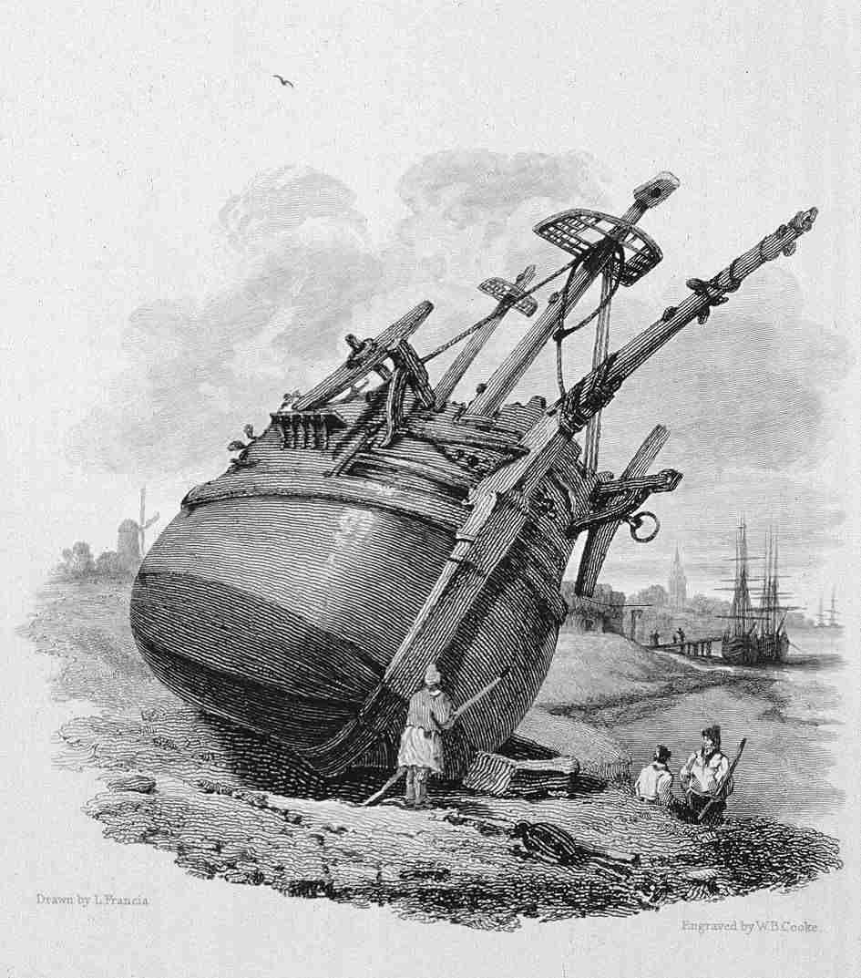 Danish Greenlandman Breaking up at Gravesend  in Thames, Cooke & Cooke 1818