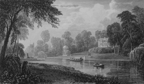 Garrick's House in Thames, Cooke Dewint 1818