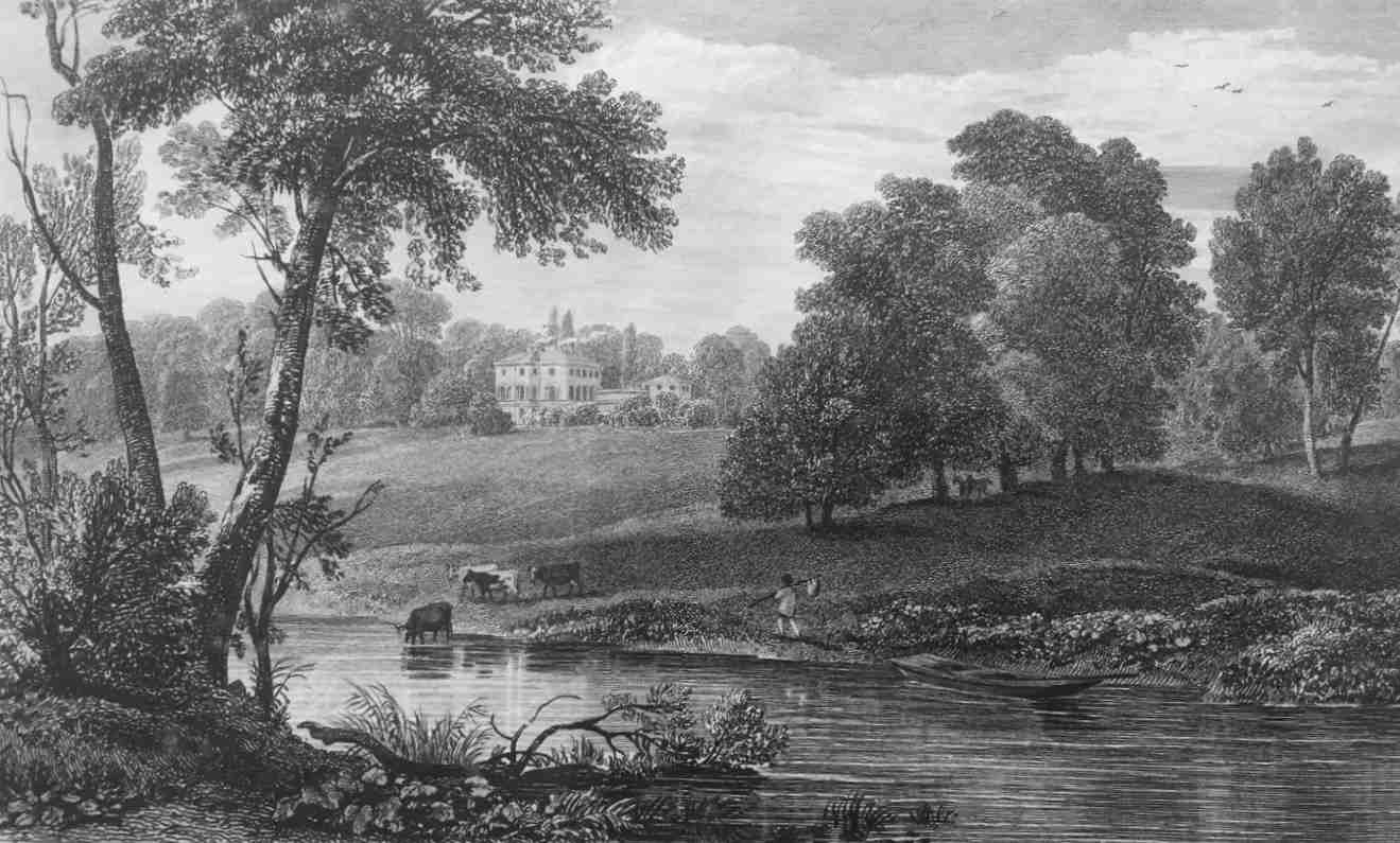 Nuneham Courtney in Thames, by J Hughes engraved Cooke 1818