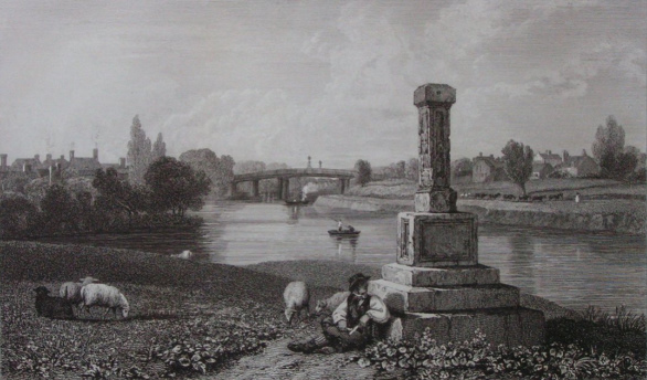London Stone at Staines in Thames, Cooke, painted Arnald, 1818