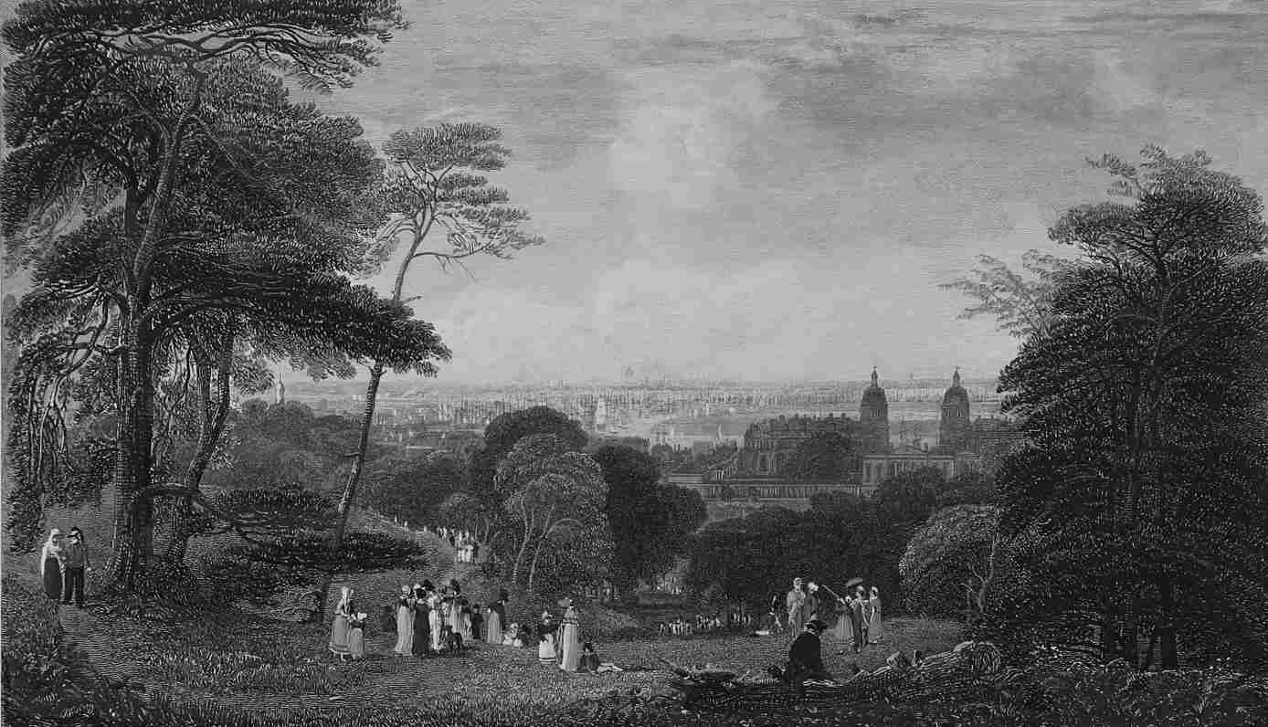 Greenwich Park in Thames, Cooke & Dewint 1818