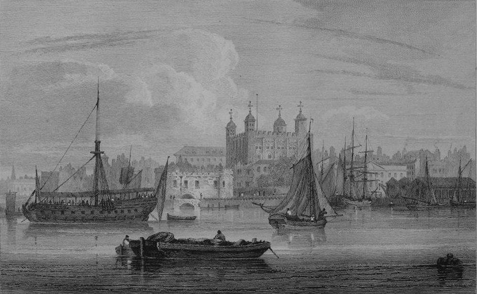 Tower of London in Thames, Cooke & Owen 1818