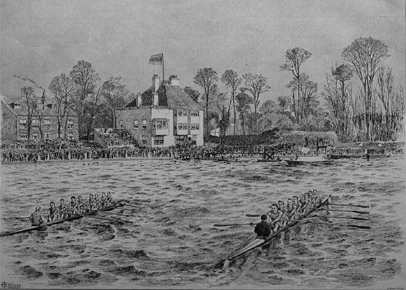 Boatrace 1890 from Barnes Bridge