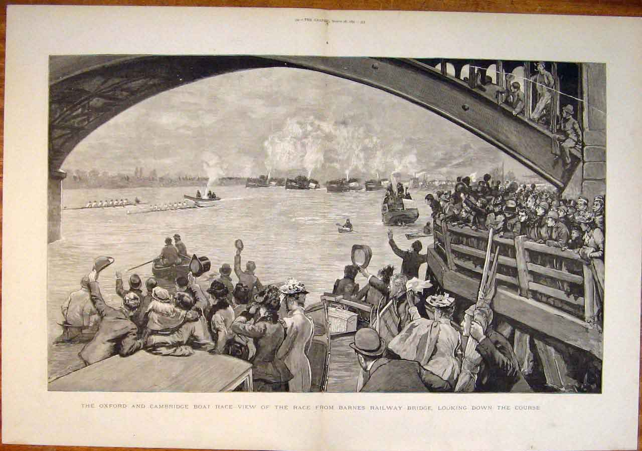Boat-race at Barnes Bridge, 1891
