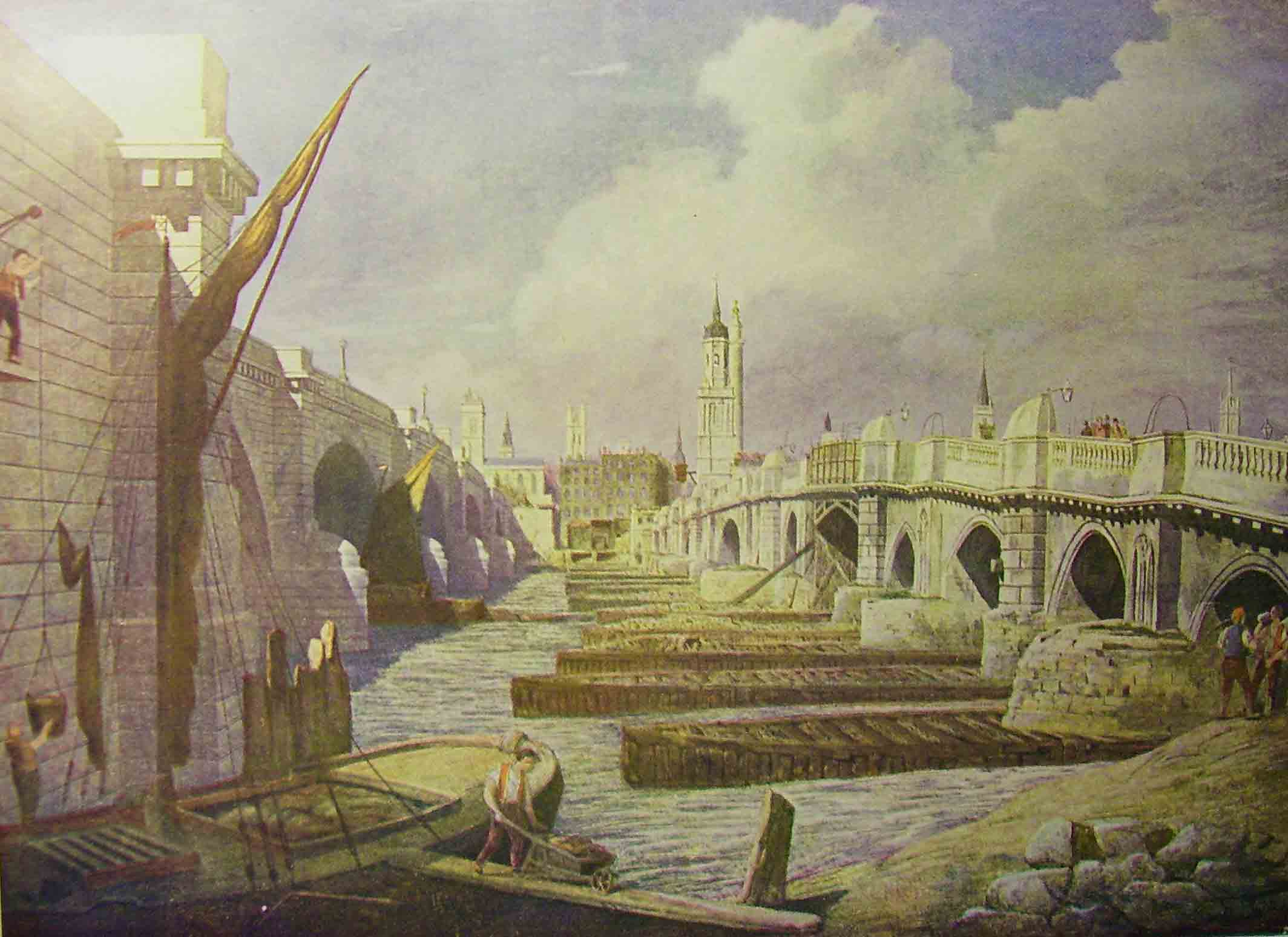 Old and New London Bridges 1827