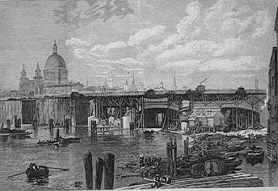 Blackfriars' under construction 1868