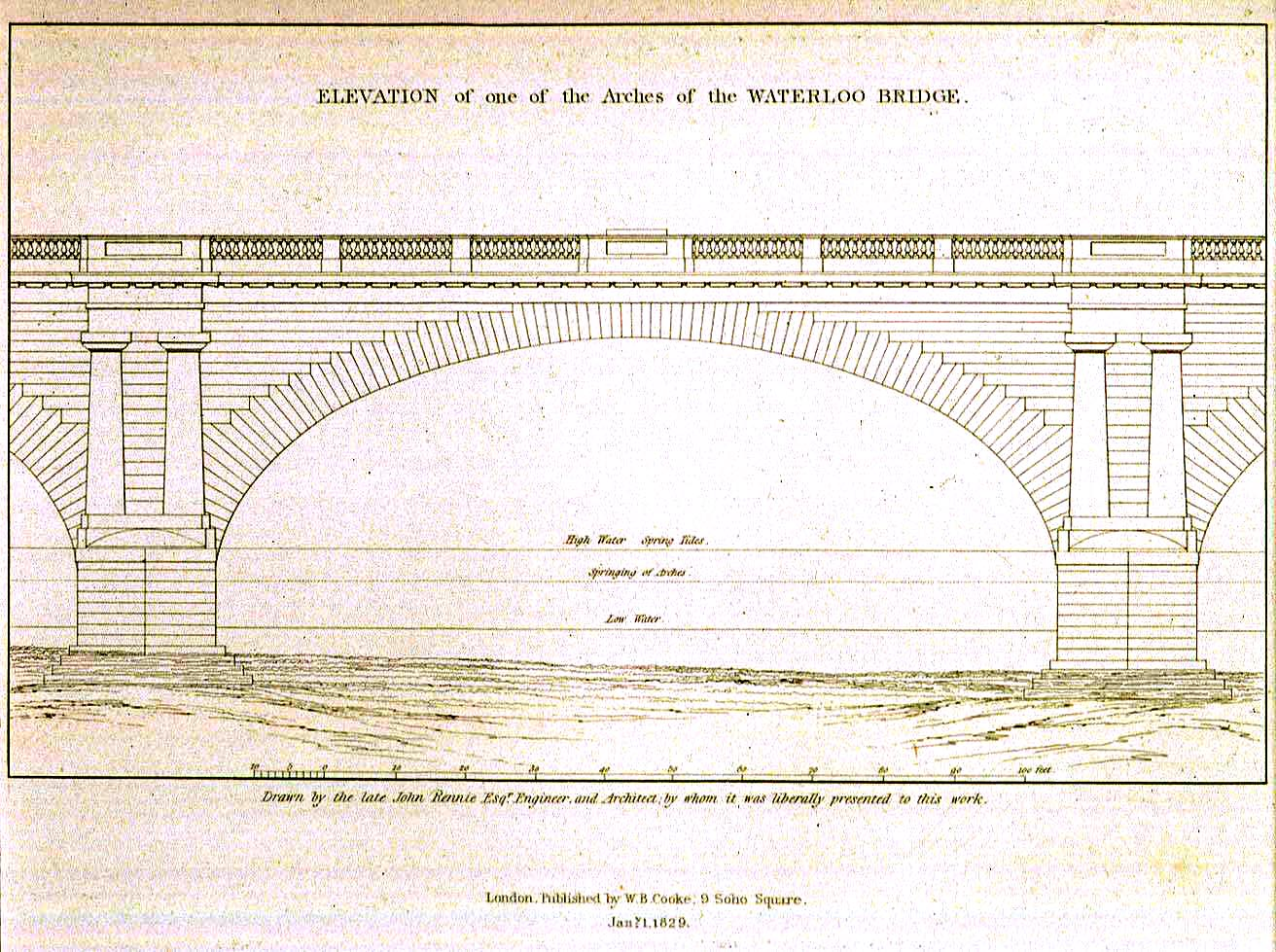 Elevation of Waterloo Bridge Arch, Rennie 1819 © MOTCO