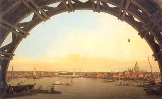 View under Westminster Bridge, Canaletto