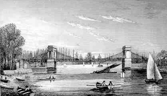 Hammersmith Bridge, Whittock, 1831