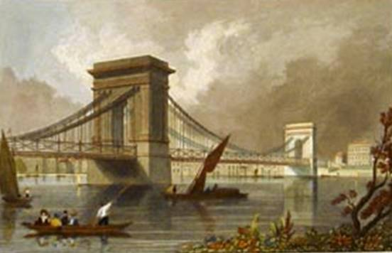 Hammersmith Bridge, Tombleson, 1836