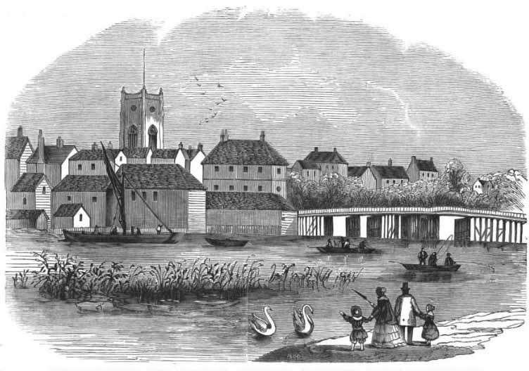 View of Kingston before the destruction of the wooden Bridge