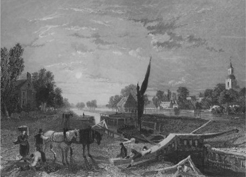 Sunbury Lock, Tombleson, 1834