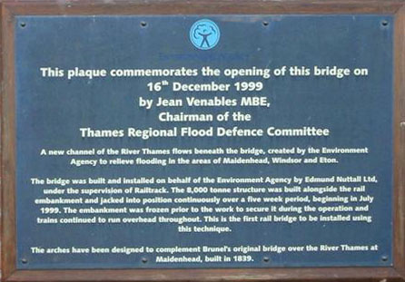 Maidenhead Jubilee River Railway Bridge Plaque 1999