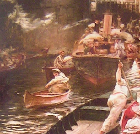 detail 4 from Boulter's Lock, Sunday Afternoon, 1895 by E J Gregory