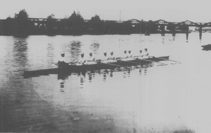Ladies Eight at Bourne End Railway Bridge