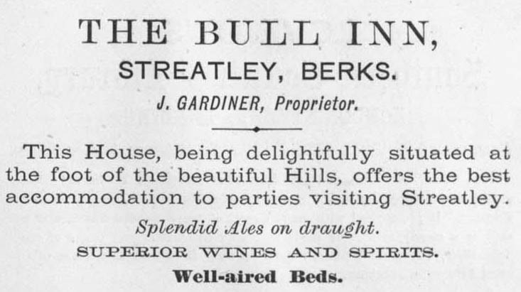 1873 Advert, The Bull at Streatley