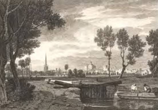 Abingdon from the Thames Navigation, Byrne, 1805