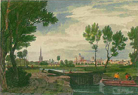 Abingdon from the Thames Navigation, William Turner of Oxford, 1805