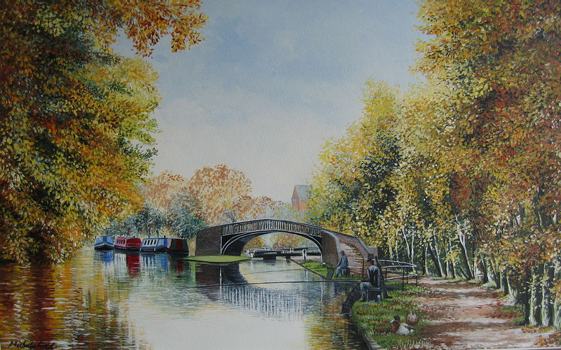 Autumn Day, Isis Lock Iron Turnover Bridge by Michele Field