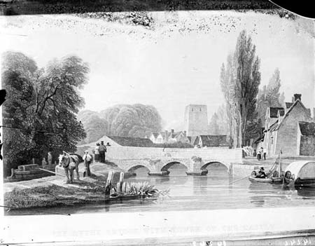 1835 Engraving of Hythe Bridge, photograph by Henry Taunt in 1907