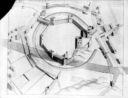 Oxford Castle plan with new roads 1770s and canal basin 1790, Taunt