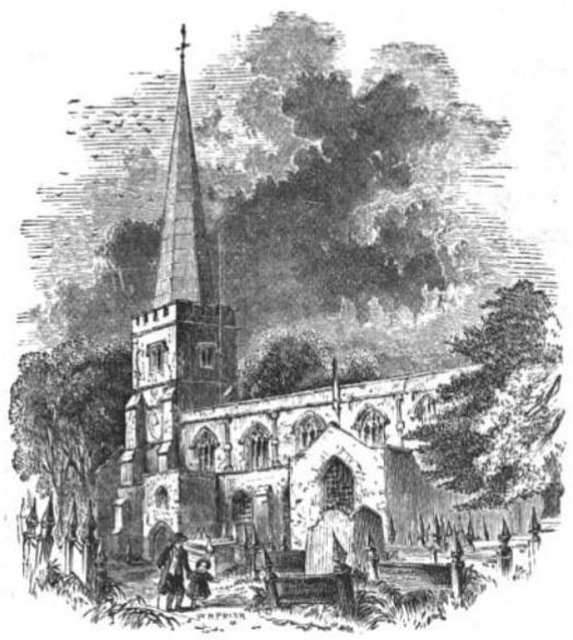 Harrow Church from The Tiber and the Thames, 1876