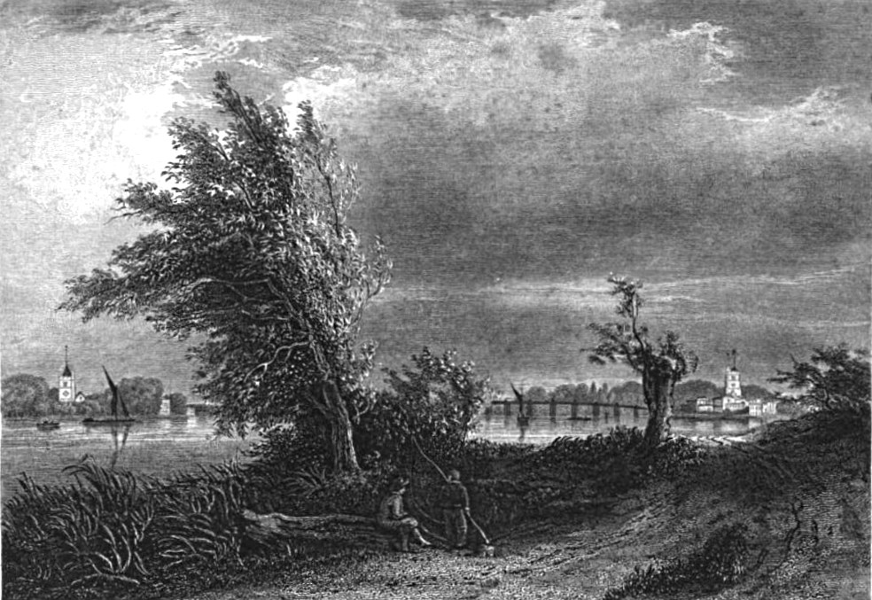 Fulham and Putney from the Surrey Shore, Picturesque Thames,Murray,1845