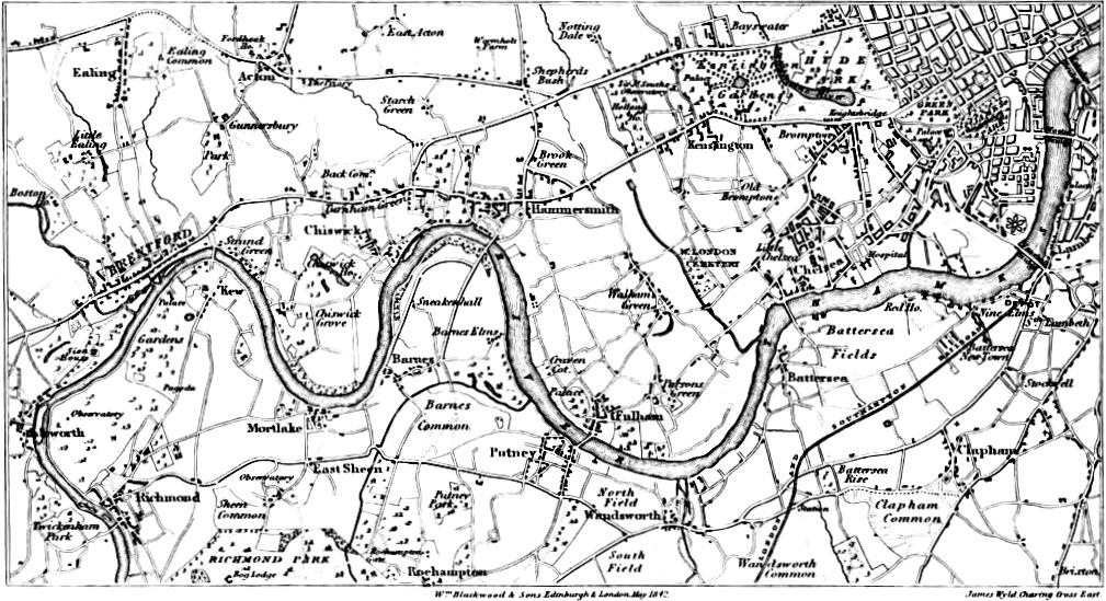 Map, Richmond to Chelsea, Picturesque Thames,Murray,1845