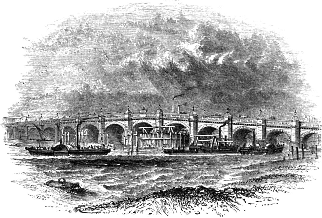 Westminster Bridge, Picturesque Thames,Murray,1845