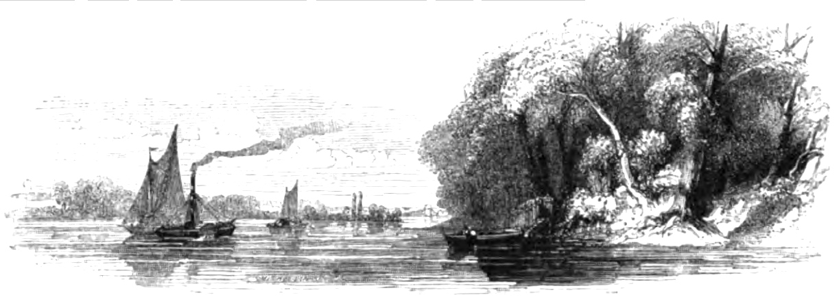 Reach in the River between Fulham and Hammersmith, Picturesque Thames,Murray,1845