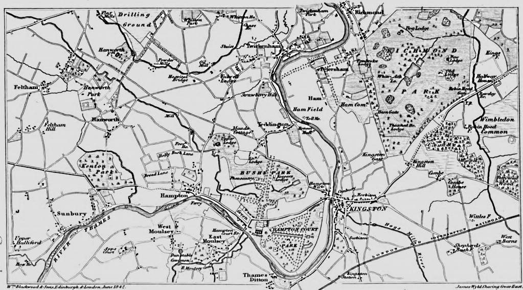 Map Richmond to Sunbury, Picturesque Thames,Murray,1845