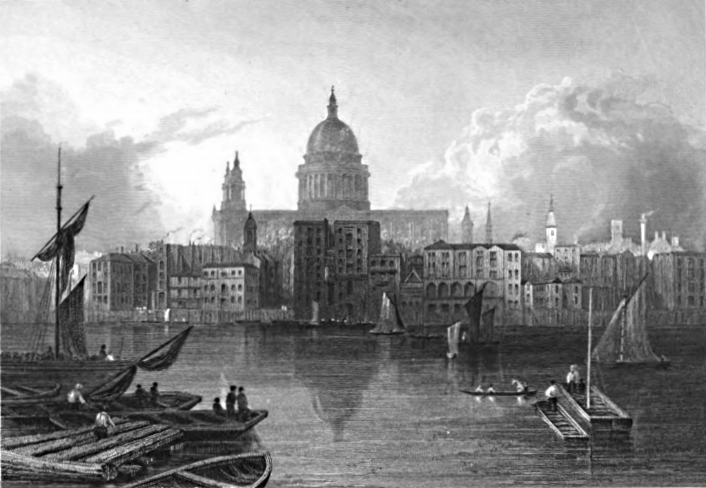 St Pauls from Bankside,Tombleson 1830