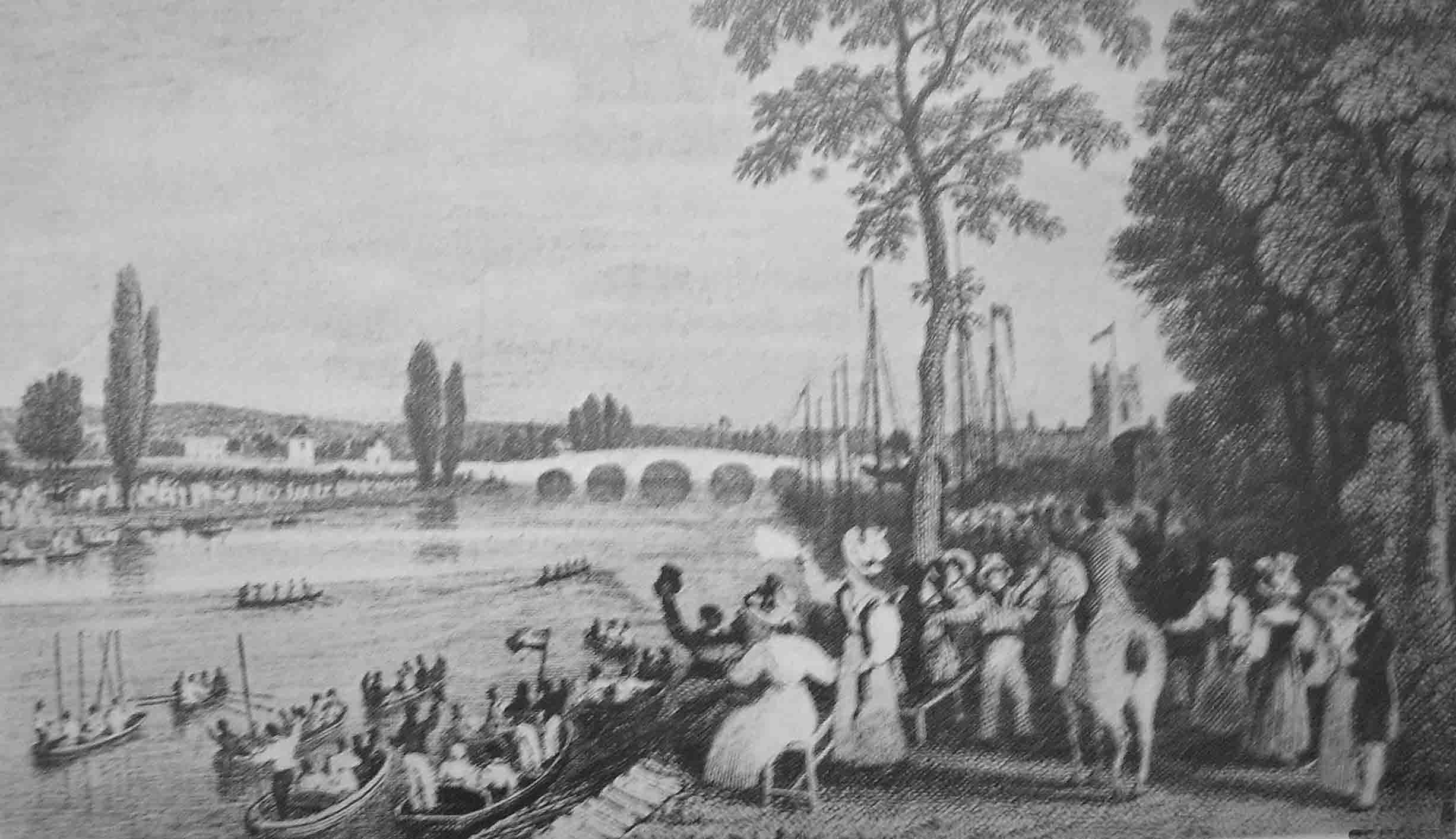 Boat race finish, Henley 1829