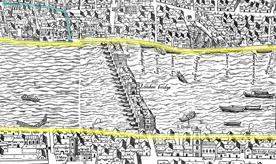 Map Of London Bridges Over The Thames.Old London Bridge Before 1632 Where Thames Smooth Waters Glide