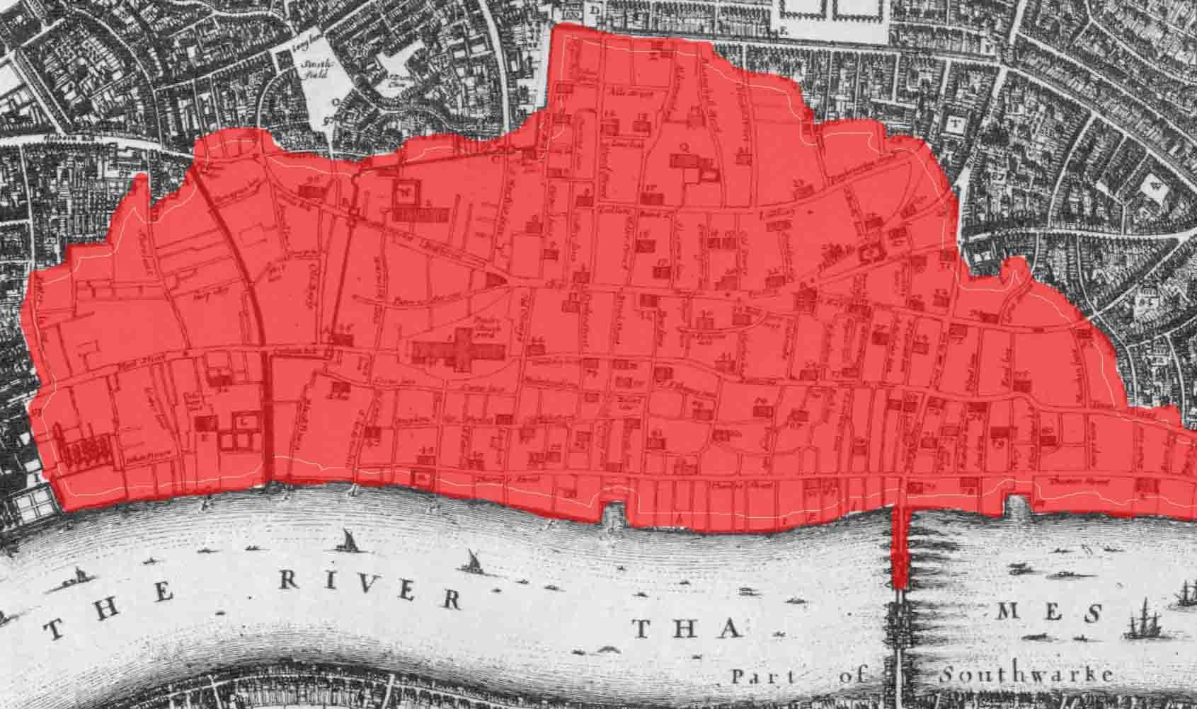 Fire of London 1666 - London Bridge -WHERE THAMES SMOOTH