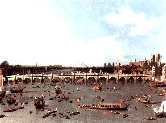 Westminster Bridge, Lord Mayor's Day, Canaletto, 1746