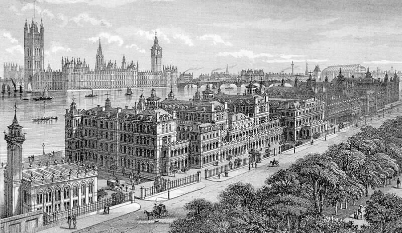 St Thomas' Hospital, Westminster Bridge and the Houses of Parliament