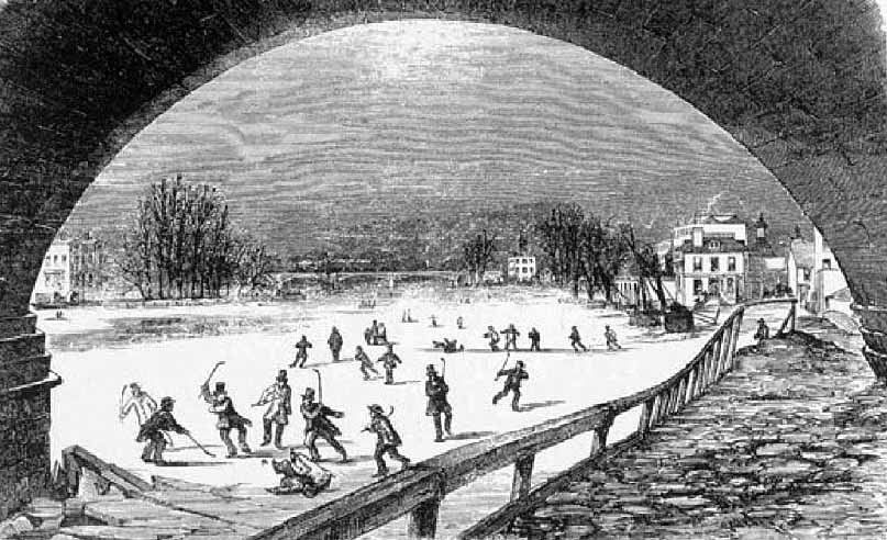 Thames frozen at Richmond Bridge, 1855