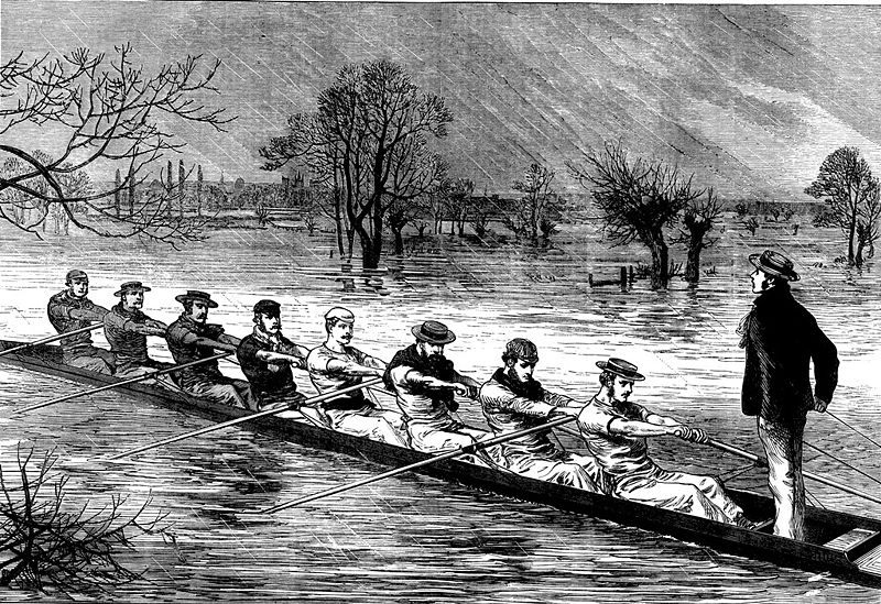 1872: Oxford boatrace crew in floods